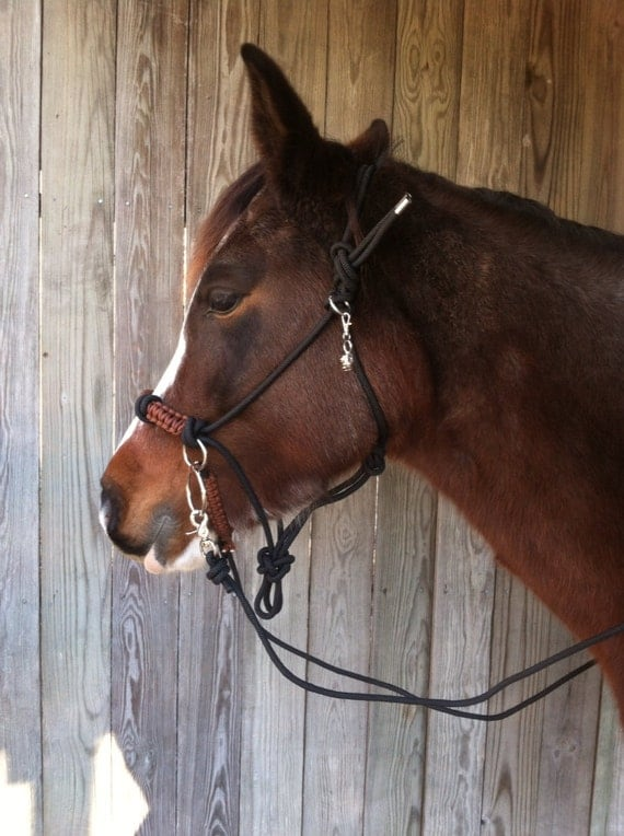 Items similar to paracord bitless bridle chin slip brown for Paracord horse bridle