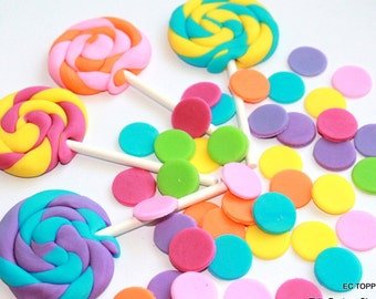6 Fondant Lollipops and Polka Dots set Toppers