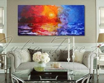 Sunset painting, Seascape Art, Abstract Landscape, Sea Print, large print, ocean, waves, sunrise, office home wall decor, Julia Apostolova