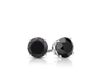 14k Gold 4-Prong Basket Round Black Diamond Stud Earrings 0.50 ct. tw.