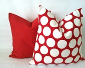 Red Polka Dot Pillow Cover - 18 x 18, One, Red White Pillows, Red Dot Pillows, Red White Decor, Lipstick Red Cushion