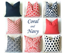 Navy Coral Euro Sham Pillow Covers - 22 x 22, 24 x 24, 26 x 26, One, Mix & Match, Coral Navy Pillows, Chevron Damask Geometric Pillows