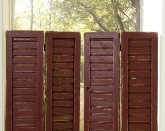 Plantation-style Primitive Beadboard Rustic Shutters