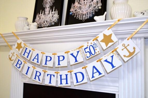 Gold anchor HAPPY 50th Birthday royal blue banner birthday
