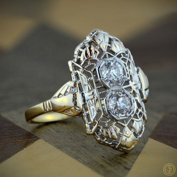 Edwardian Cocktail Engagement Ring - Estate Diamond Jewelry - 1910 era