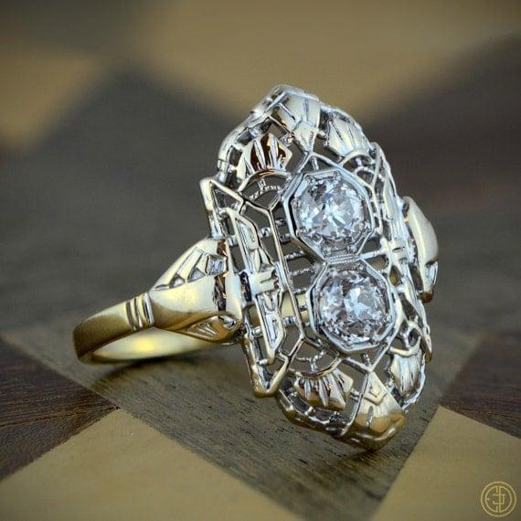 Edwardian Cocktail Engagement Ring - Estate Diamond Jewelry - 1910 era