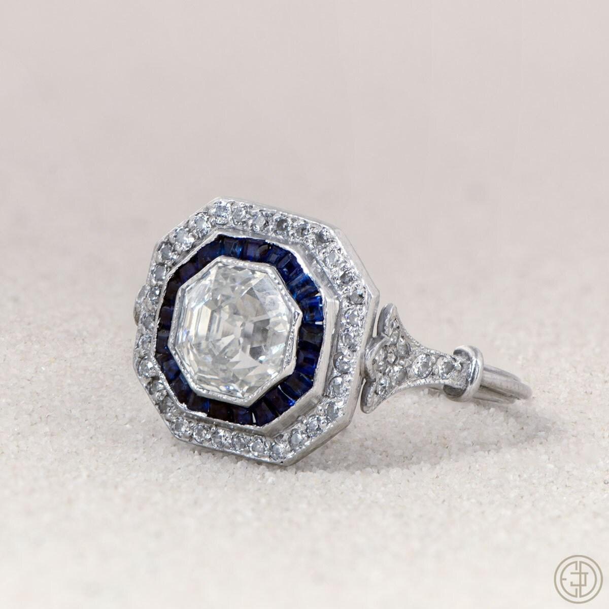 1.45ct Asscher Cut Diamond and Sapphire by ...