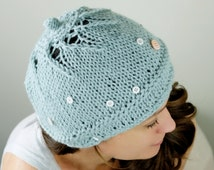 Unique Girly Beanie Hat Truly Individual One Of A Kind / Light Blue Wool Knit Hat