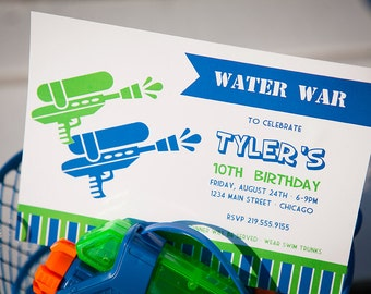 Water War Printable Party Invitation - Green and Blue