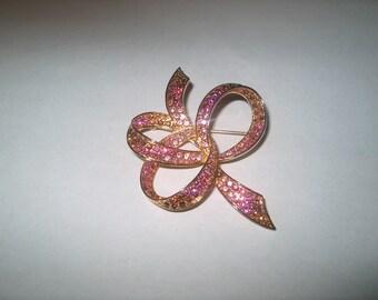 Vintage Costume Jewelry Pink Rhinestone Bow Pin, WAS 12.00 - 20% = 9.60