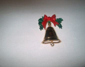 Vintage Costume Jewelry Christmas Bell Brooch Pin, WAS 10.00 - 20% = 8.00