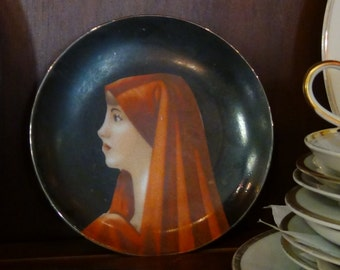 Hand Painted Woman's Profile Plate, 5 inch