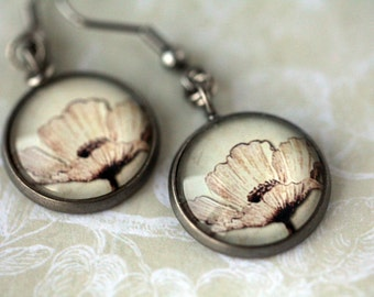 Vintage Flower Dangle Earrings - Romantic Floral Botanical - Nature Inspired Jewelry