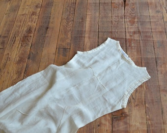 white long linen sun dress