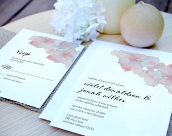 Violet Watercolor Flowers Wedding Invitation Suite - Invitation Deposit