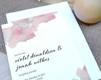 Violet Watercolor Flowers Save the Date - Paper Samples