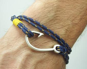 Fish hook bracelet in navy blue yellow rope bracelet for Mens fishing bracelet