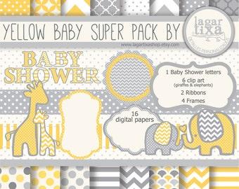 Gray Yellow Digital Paper background textures patterns giraffe elephant chevron polka dots frames grey invitations baby shower printables