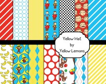 Digital scrapbooking paper (Curious George yellow hat) 12x12 quality paper -INSTANT DOWNLOAD