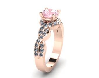 Rose Gold Engagement Diamond Morganite Engagement Ring Wedding RIng 14K Rose Gold Anniversary Ring with 6.5mm Round Morganite Center - V1033