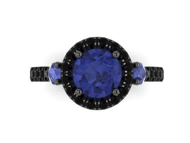 Blue Sapphire Engagement Ring Black by JewelryArtworkByVick