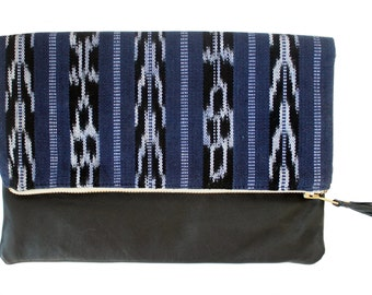 Mara Navy Blue Ikat and Leather Clutch