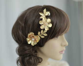 Bridal gold rose hairclip with swarovski pearl, bridal headpiece, Golden plated  Rose and blossom branch headpiece-----v402