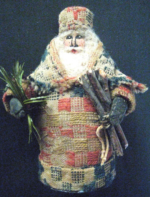 Santa Ooak Primitive Folk Art Santa The Gatherer