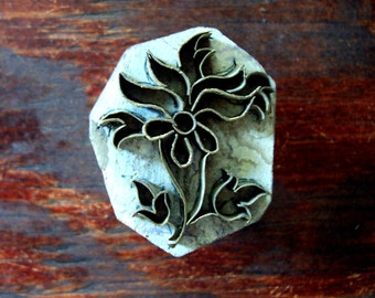 Brass Flower Hand Carved Wood Stamp Indian Print Block