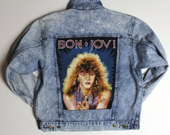 Ironic Jon Bon Jovi Acid Wash Oversize Denim Jacket
