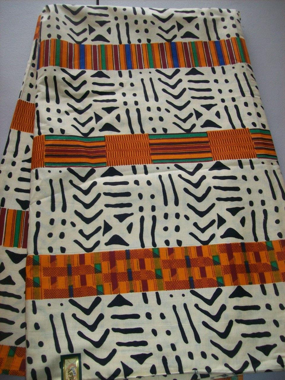 Tribal Print Kente fabric per half yard/ African apparel/