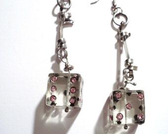 Dice earrings, Medium size Dice Earrings, Pink Dice earrings, Dice Dangle Earrings, Pink Earrings, Dice jewelry.