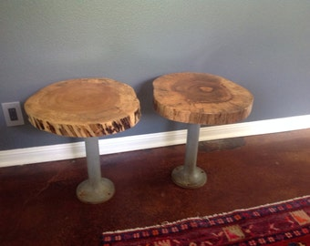 Spalted maple live edge round side/end tables