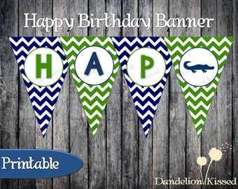 Green Blue Alligator Happy Birthday Digital Printable Banner