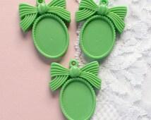 3 Pcs Green Bow Cameo Setting Pendant - Fits 25x18mm
