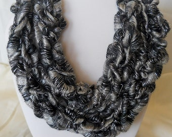 Hand - Knitted Ribbon Yarn Skinny Scarf Necklace  Item #113, #115