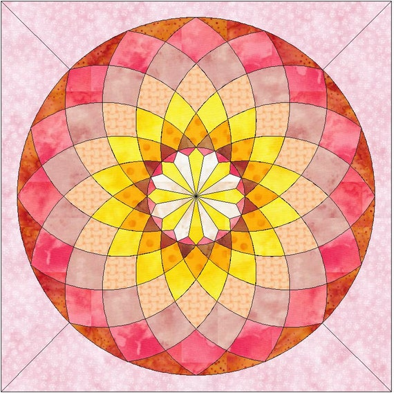 Small Dahlia Paper Piece Template Quilting Block Pattern 8x8
