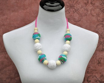 Nursing Necklace - White, Blue, Pink, and Teal - Jewelry