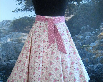 SALE Simple Circle Skirt in Vintage Romance, pink, fabric, from Bird of Paradise Clothing. NOW 40% OFF