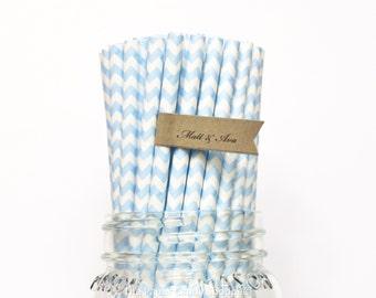 Light Blue Paper Straws, 25 Blue Chevron Paper Straws, Wedding Table Setting, Baby Shower, Kids Birthday Party, Cake Pop sticks Made in USA,