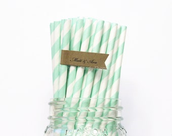Mint Green Paper Straws, 25 Mint Striped Paper Straws, Wedding Table Setting, Pink Mint Baby Shower, Kids Birthday Party,  Made in USA,