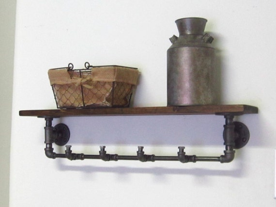 industrial pipe coat rack with shelf