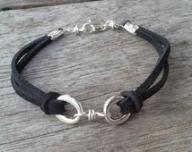 Black  Leather Cord Bracelet with Silver Circle Charm  Unisex Bracelet