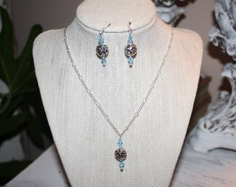Silver Chain Necklace and Earing Set with Swarovski Crystals and Silver Bead Pendant