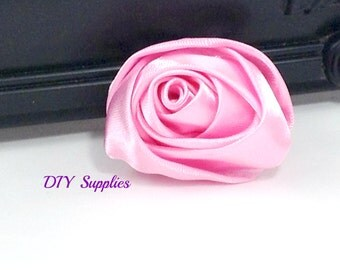 """2"""" pink rolled rosettes - satin flower - rolled satin flower - wholesale flowers - fabric flower - rolled rose"""