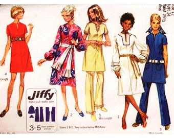 Simplicity Sewing Pattern 9057 Misses' Jiffy Dress and Pants Used