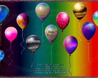 12 Colourful balloons set Png files.