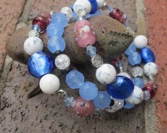 set of 3  Bangle bracelets Blue foil, crackle and lampworked glass beads glass ornate antique silver bohemian stackable bangle bracelet