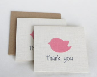 Bird Baby shower small thank you card set, Girl baby shower thank you notes, bird baby shower thank yous