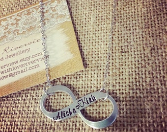 Infinity Hand Stamped Necklace, personalized